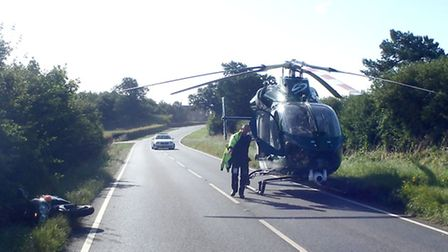 The scene this morning following a collision on the B1090 in Abbots Ripton.