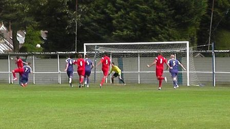 Matty Simpson finds the net in Ely City's 2-1 defeat to Ipswich Wanderes.