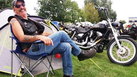 Roger from Norwich with his trusty Harley Davison