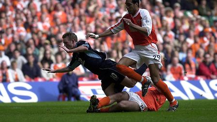 Tom Youngs is fouled, and awarded a penalty, during the 2002 LDV Vans Trophy Final between Blackpool