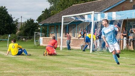 Gary Smith celebrates after netting the winning goal in Chatteris Town's 2-1 victory over Cherry Hin