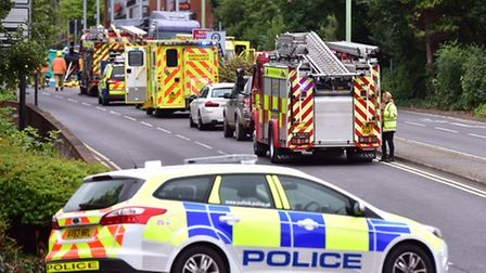 Emergency services attend the scene of a road traffic collision in parkway Bury St Edmunds.