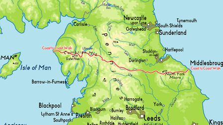 Jason will walk 192 miles from St Bees to Robin Hood Bay.