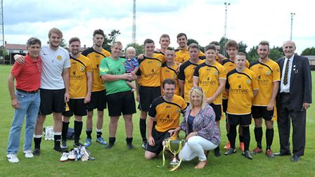 March Town celebrate their 3-0 BKD Cup victory over Wisbech Town. Picture: Steve Williams