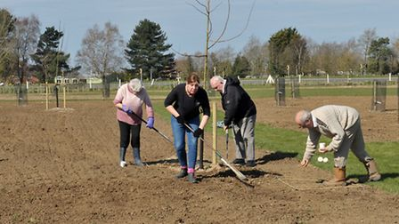 The Welney Recreation Ground Users Group working on the recreation area known as Sandgate Corner, P