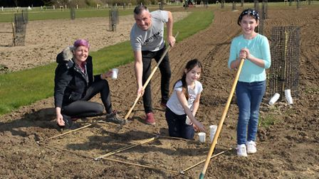 The Welney Recreation Ground Users Group working on the recreation area known as Sandgate Corner, T