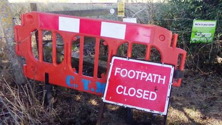 Ely footpath 50 that Open Spaces campiagners say has been closed unofficially