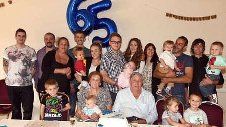 Christine and Peter Gipp celebrating their 65th wedding anniversary with family and friends.