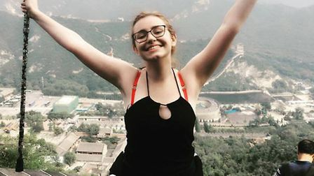 Rachel Turner after climbing The Great Wall of China.