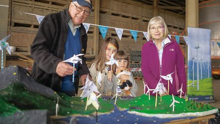 Landowners Duncan and Vicky Boughtom with their grandchildren, Evie and Bella