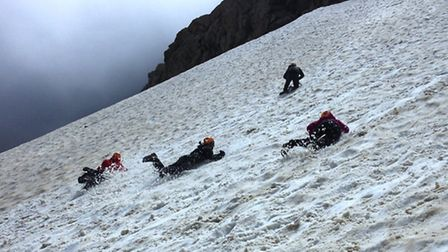 King's Ely team in training on the side of a mountain