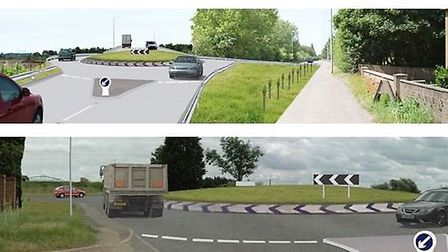 The route bypasses the existing road and is reached through roundabouts at both ends of the road. At