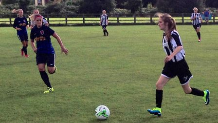 Action from Park Ladies' match with St Ives Town Ladies.