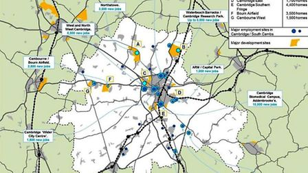 Greater Cambridge City Deal area housing and business growth areas