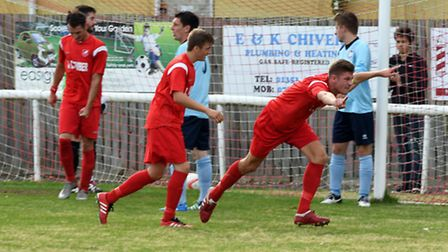 James Seymour celebrates putting Ely City ahead in their 4-2 FA Vase win over Diss Town.