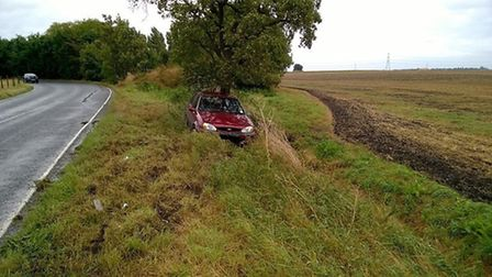 This Ford Fiesta came off the road in East Cambridgeshire on Saturday September 10 - one of 11 accid