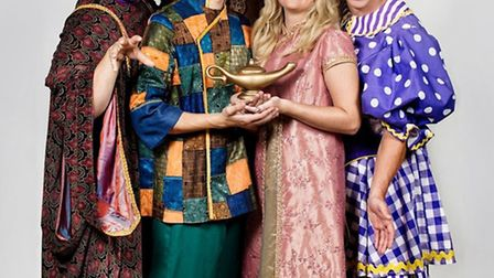 The cast of Aladdin, which is to come to the Maltings in Ely on December 22.