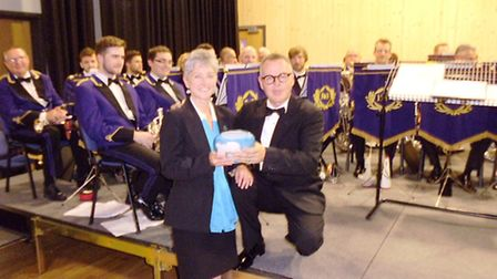 Debbie Watts, honourable secretary of March Brass 2000, presented with memento by Brighouse musical