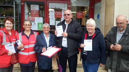 Fighting to save services at local hospitals. Leafletting in Wisbech Market Place