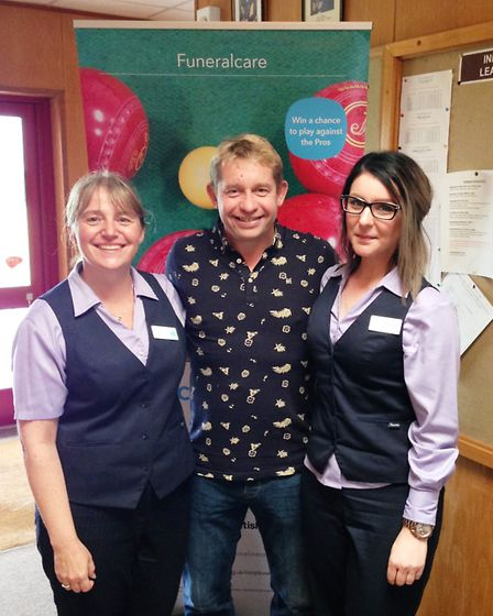 Ely bowlers Greg Harlow with Co-op Funeralcare staff at the Ely leg of Co-op Funeralcare's Wildcard
