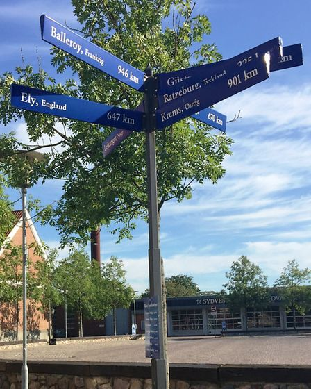 Signpost to Ely from Ribe, Denmark