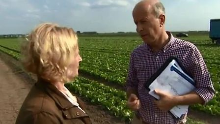 John Shropshire, owner of G's Fresh, talking to Anna Hill. Photo BBC Inside Out East.