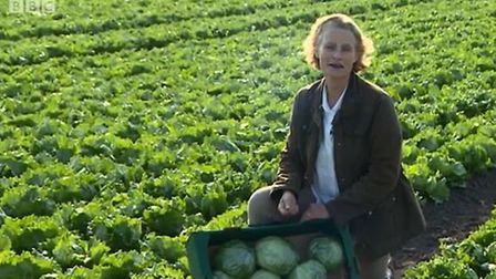 Anna Hill in G's Fresh of Ely's Fenland farm. Photo BBC Inside Out East.