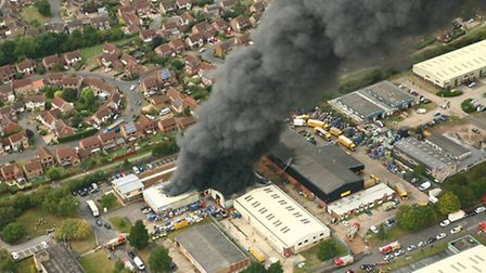 Stunning aerial photos of yesterday's fire in St Ives that show the scale of the fire and smoke, as