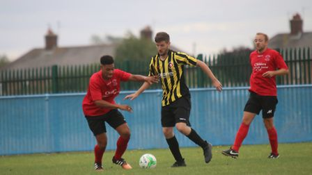 Players at the charity football match in Whittlesey raising funds for baby James Overland by RWT Pho