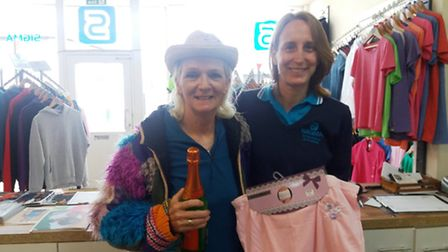 Cathy Gibb-de Swarte presenting Kim Oakhill from Littleport's Sigma Embroidery & Printing Company wi