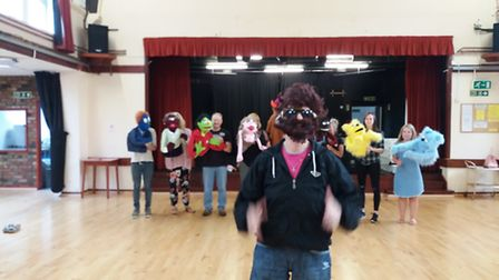 Cathy with Littleport Players rehearsing for their back on demand adult musical Avenue Q at the Vill