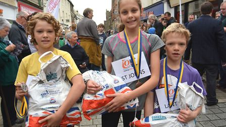 Ely Potato Race, first childrens race winners, (l-r) Ethan, from St Marys Junior School, Donna, from