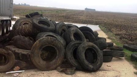 Fly tipping - tyres dumped at Littleport