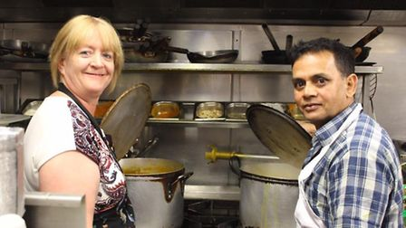 Ely SOUP volunteer Teresa with Syhlet Chef.