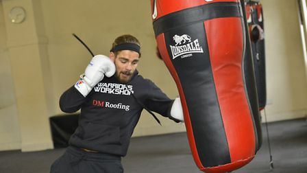 St Ives Boxing Club Open Day, and Boxathon, Tyler Goodjohn in training,