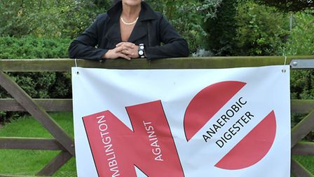 Wimblington Against Anaerobic digester. Angela Johnson with her banner. Picture: Steve Williams.