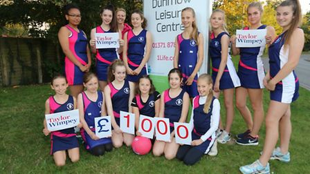 Great Dunmow Netball Club recieved £1000 for new kit and training equipment