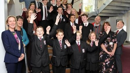 Students and staff at Cromwell Community College, Chatteris celebrating their 'good' Ofsted