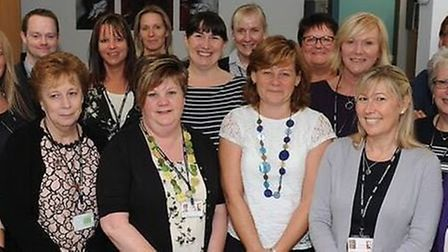 Cromwell Community College staff celebrating their 'good' Ofsted.