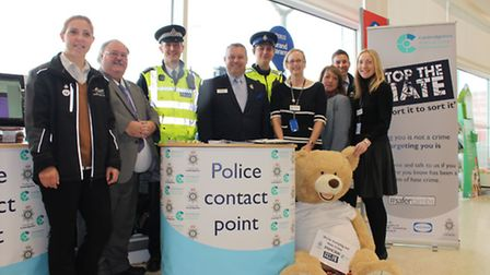 Cllr David Oliver, Ch Insp Mike Hills and Police and Crime Commissioner Jason Ablewhite with members