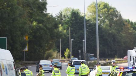 Police continue their search for Corrie McKeague on the A11 near Fiveways Roundabout.