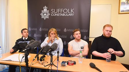 Missing person appeal. Corrie McKeague press conference. Bury St Edmunds. Left to right, acting Sup