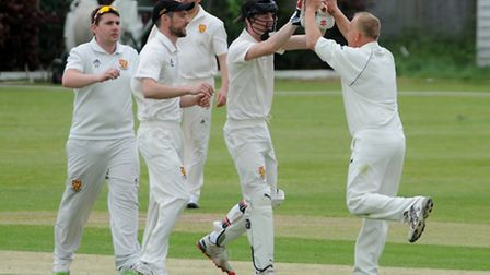 Dunmow celebrate a wicket. Picture: JAMIE PLUCK