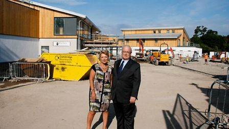 Dr Lynn Morgan, CEO of Arthur Rank Hospice Charity and Stuart Evans, Chair of Trustees stand in fron
