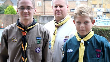 March Scouts, Left: James Richardson, Phil Richardson and Aaron Spencer. Picture: Steve Williams.