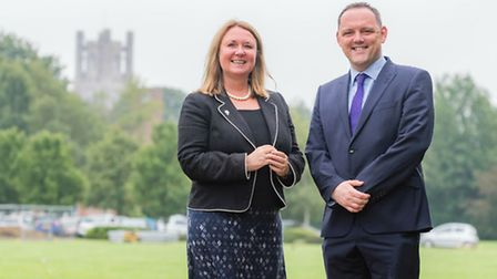 Dr Carin Taylor, principal of Soham Village College, and Richard Spencer, principal of Ely College.