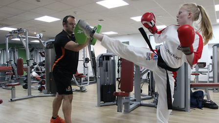 Freya Molloy sparring with George Campbell Centre manager, Andy Cornwell.