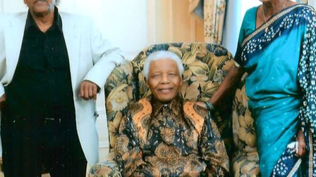Paul and Adelaide Joseph with Nelson Mandela in 2008.