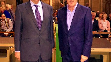 ECBG Chairman Tom Green and guest speaker Lord Hutton of Furness at Ely Cathedral.