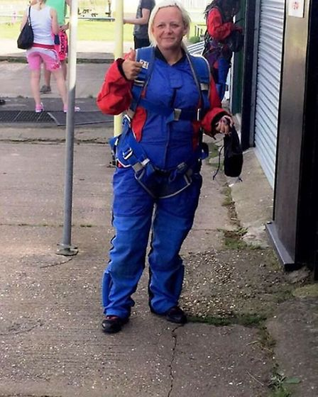Shelley Walton gets ready to jump for Defibrillators for All in Whittlesey